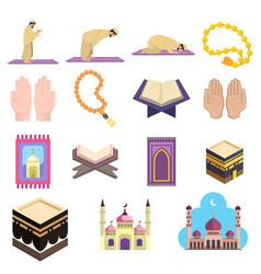 Muslim islam prayer clip art set with mosque vector