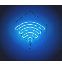 neon sign retro blue neon sign wifi hotspot on vector image