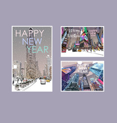 new yorkmerry christmas and new year cards vector image