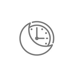 Night time moon with clock line icon vector