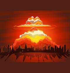 Nuclear explosion atom bomb falling on earth vector