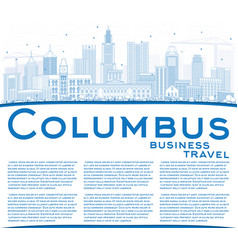 outline columbus skyline with blue buildings and vector image