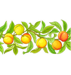 Peach branches pattern on white background vector