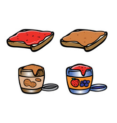 Peanut butter and jelly jars vector