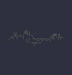 Pen line silhouette prague dark blue vector