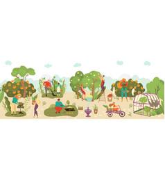 people in garden harvesting fruits crop and vector image