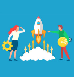 people with business tools and ideas near rocket vector image