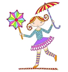 Pretty girl acrobat walking a tightrope with an vector