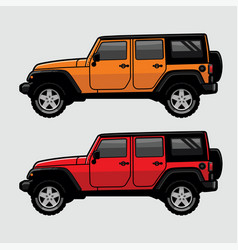 Red and orange 4x4 off road suv side view in vector