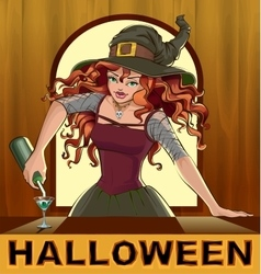 Redhead beautiful pretty witch girl pours vector image