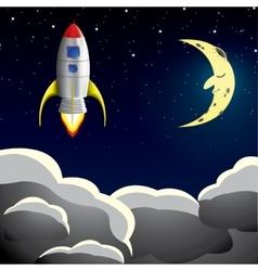 Rocket spaceship in sky vector