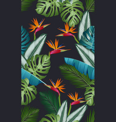 Seamless pattern with bird paradise tropical vector