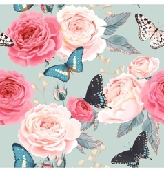 Seamless peony roses and butterfly vector