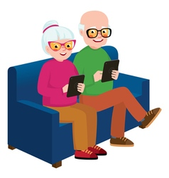 Senior couple husband with a computer tablet vector