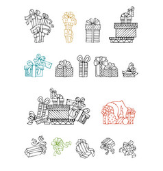 set of doodles festive gifts vector image