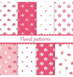Set of flower seamless patterns vector image