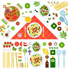 Set pasta on floor icons flat vector