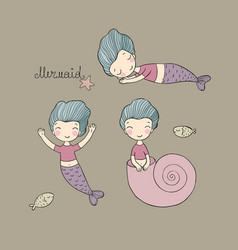 Set with cute cartoon mermaid little sisters fun vector