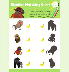 Shadow matching game monkey animal vector