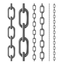 shiny seamless metal chain set isolated on vector image