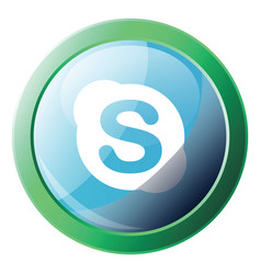 Skype bubble with round green frame icon on a vector