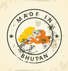 Stamp with map flag of Bhutan vector