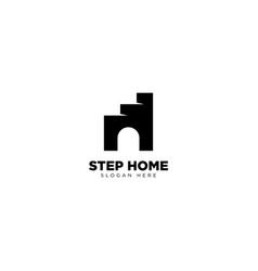 Step home logo outline monoline vector