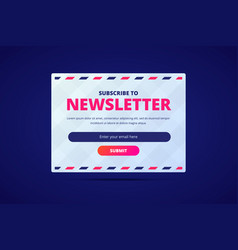 Subscribe to newsletter card with email input and vector