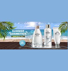 summer cosmetics realistic sea view vector image