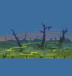 Swamp dusk landscape background vector