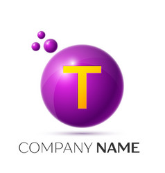 T letter splash purple dots and circle bubble vector