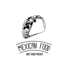 Taco traditional mexican food label template vector