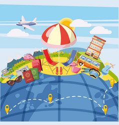travel tourism concept global cartoon style vector image