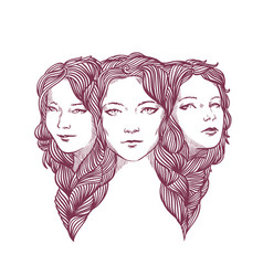 triple portrait of beautiful young girls woven vector image