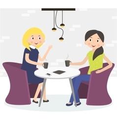 Two cute friends women drinking coffee vector