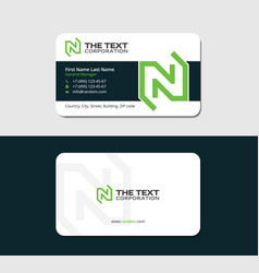 visiting card with green letter n vector image