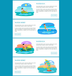 Water summer activities set vector