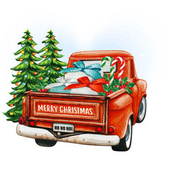 watercolor red christmas vintage truck with trees vector image