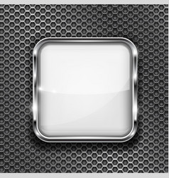 White button frame on perforated background vector
