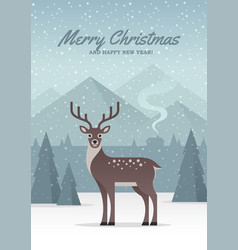 Winter nature landscape with deer vector