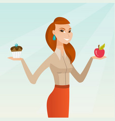 Woman choosing between apple and cupcake vector