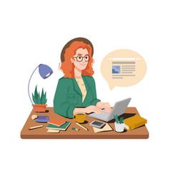 Woman journalist write publication on computer vector
