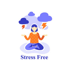 Woman meditating practice stress free emotion vector
