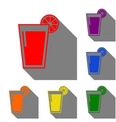 glass of juice icons set of red orange yellow vector image