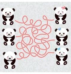 Kawaii funny panda white muzzle with pink cheeks vector image vector image
