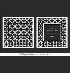 laser cutting frame and ornamental panel set vector image