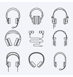 line headphones icon set vector image vector image