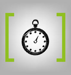 stopwatch sign black vector image vector image