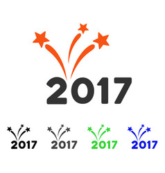 2017 fireworks flat icon vector image