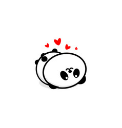 cute panda in love and rest vector image vector image